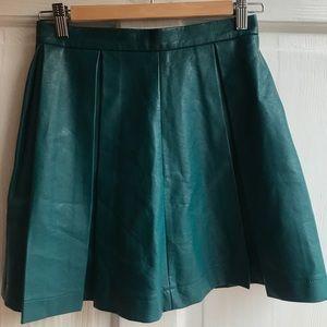 Teal Pleated Pleather Skirt